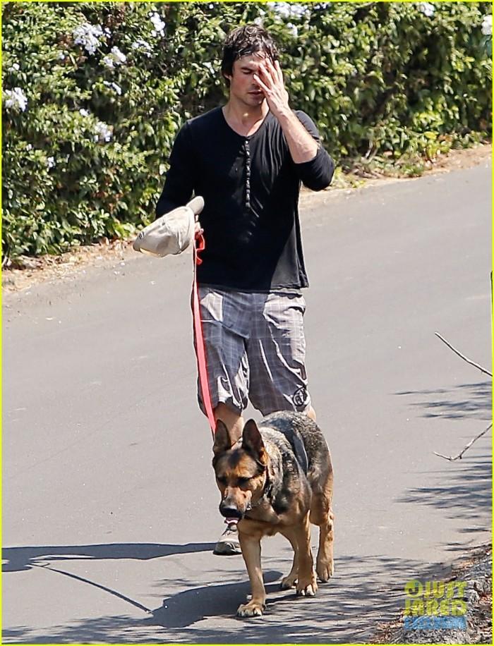 Ian Somerhalder de paseo con su perro 7/8/2014