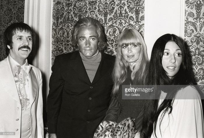 Sonny Bono, John Derek, Linda Evans, and Cher